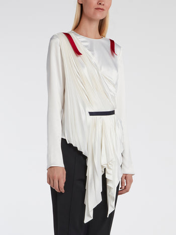 White Sculptural Pleated Top
