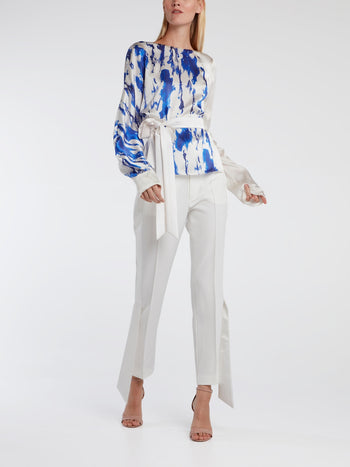 Long Sleeve Printed Silk Top