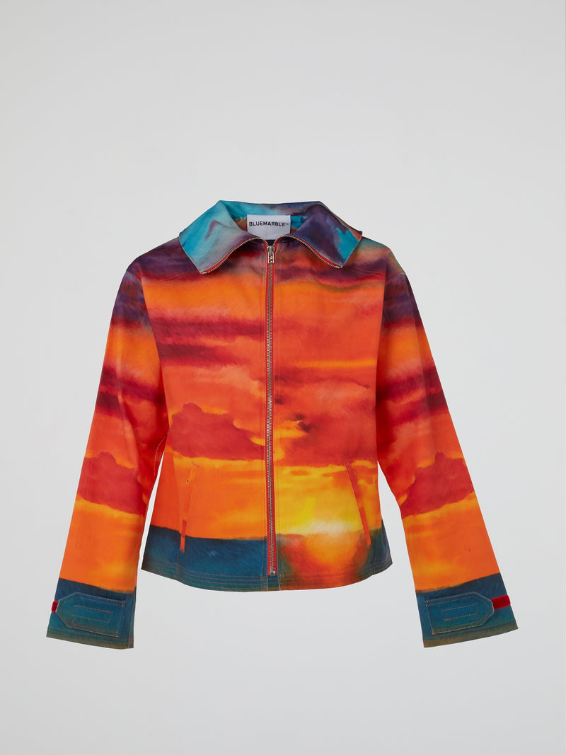 Sunset Print Zip-Up Jacket