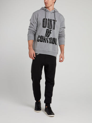 Grey Distorted Statement Print Hoodie