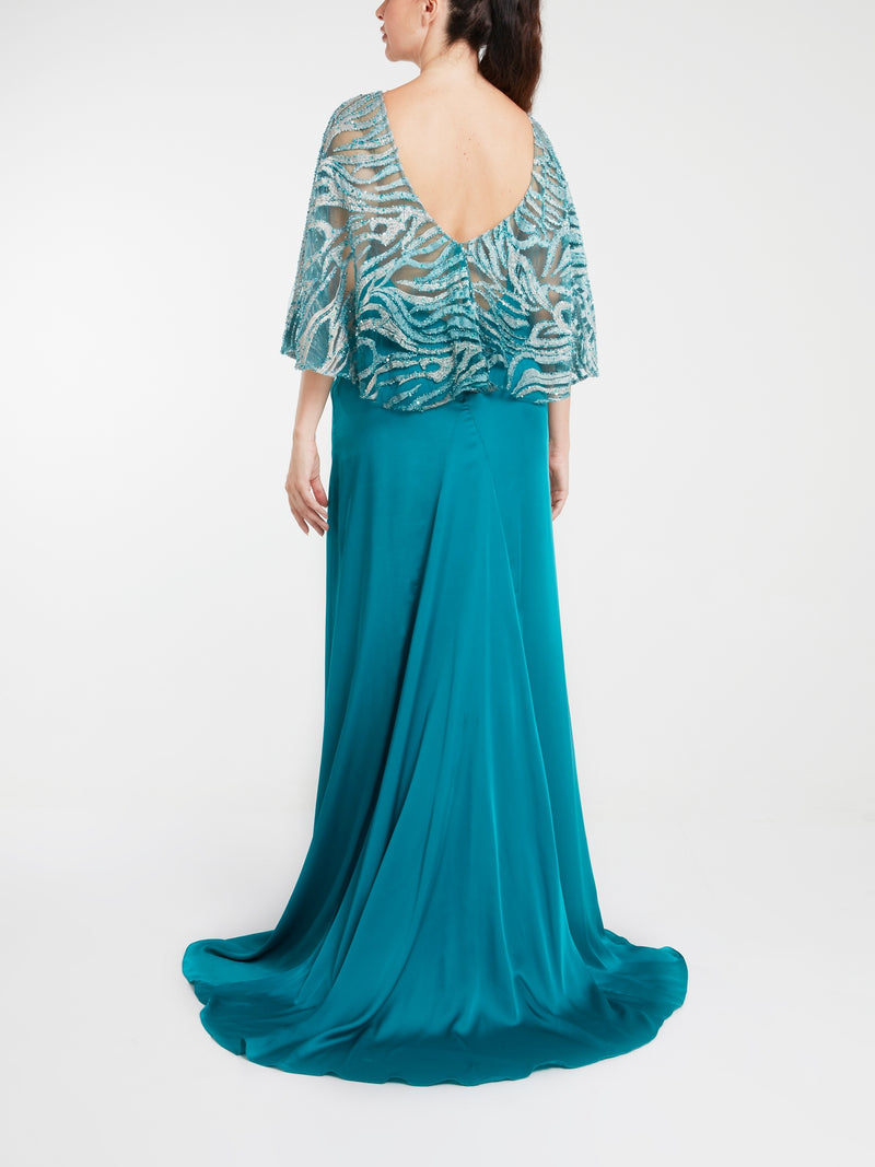 Blue Embroidered Pure Silk Gown