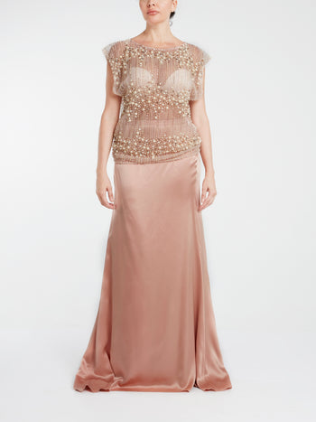 Pearl Embellished Pure Silk Maxi Dress