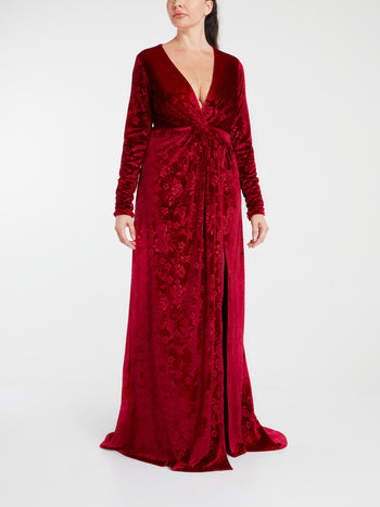 Red Surplice Velvet Maxi Dress