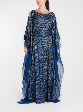 Sapphire Sequin-Embellished Maxi Dress