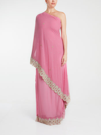 Pink Embellished Chiffon Saree Gown