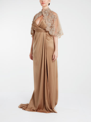Draped Pure Silk Evening Dress