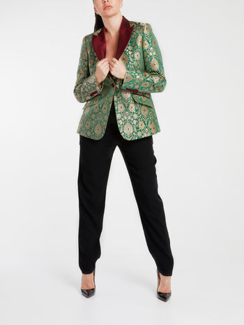 Paisley Hand-Painted Pure Silk Blazer