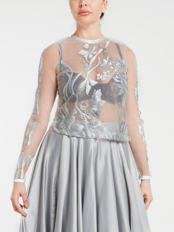 Silver Embroidered Tulle Top
