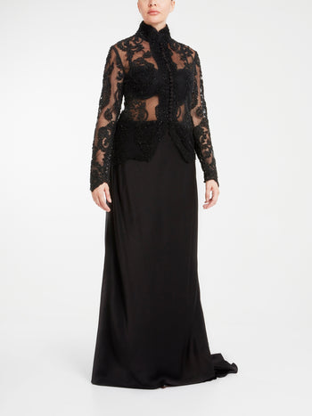 Black Beadwork Silk Evening Dress