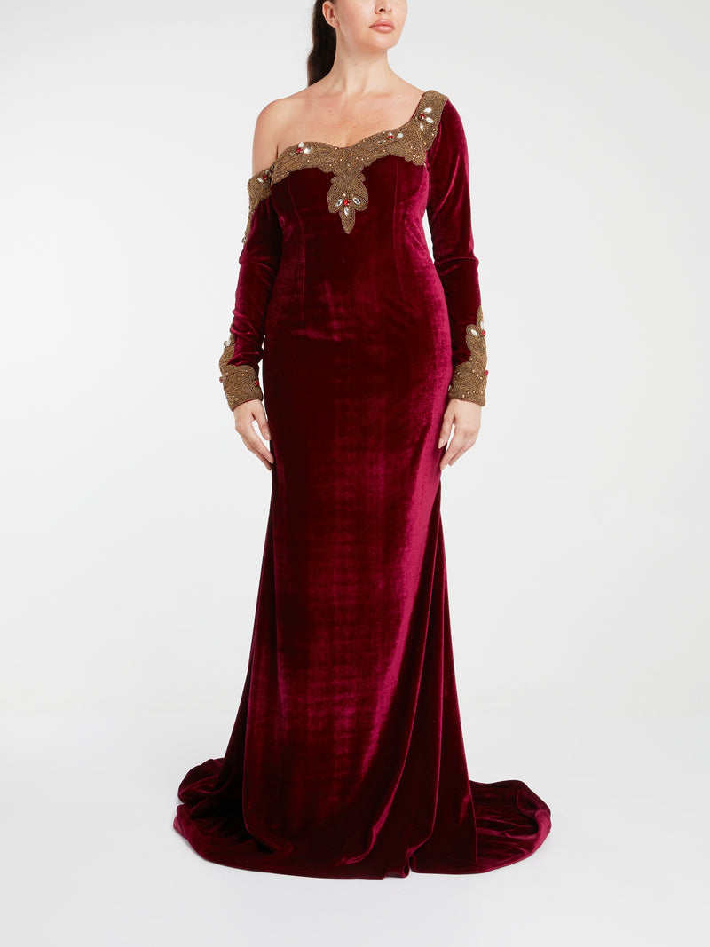 Burgundy One-Shoulder Velvet Maxi Dress