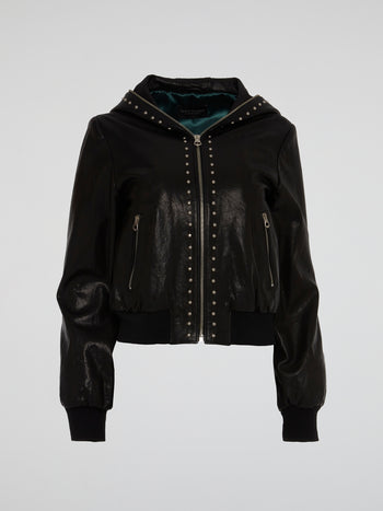 Black Studded Leather Bomber Jacket