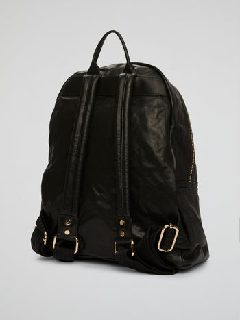 Black Studded Calfskin Backpack