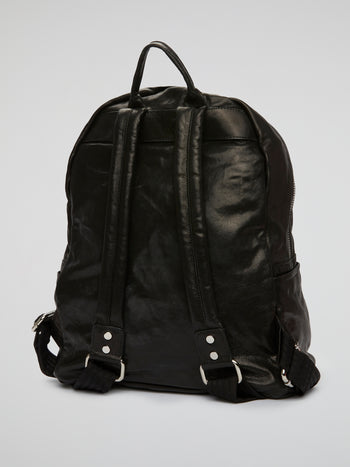 Black Embellished Calfskin Backpack