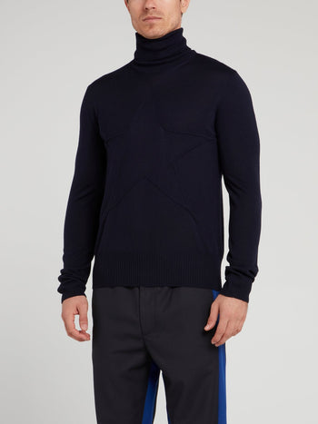 Navy Turtleneck Wool Top