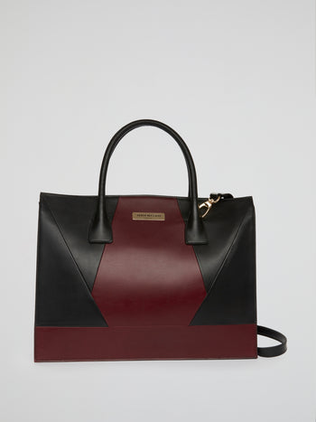 Two-Tone Leather Patchwork Handbag