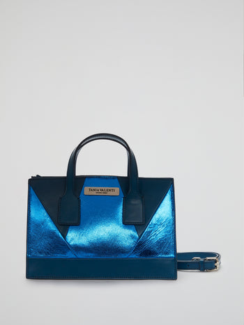 Blue Metallic Calfskin Handbag