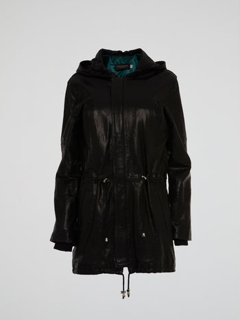 Black Drawstring Leather Parka