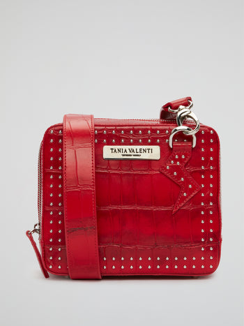 Red Studded Reptilian Crossbody Bag