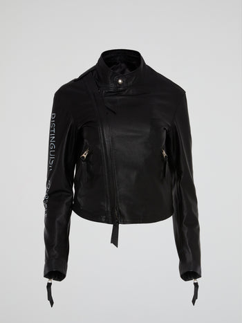 Black Hand-Painted Leather Jacket