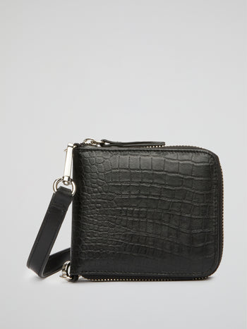 Black Crocodile-Effect Crossbody Bag