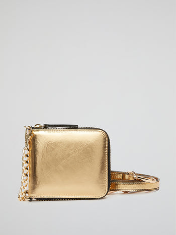 Metallic Gold Leather Crossbody Bag