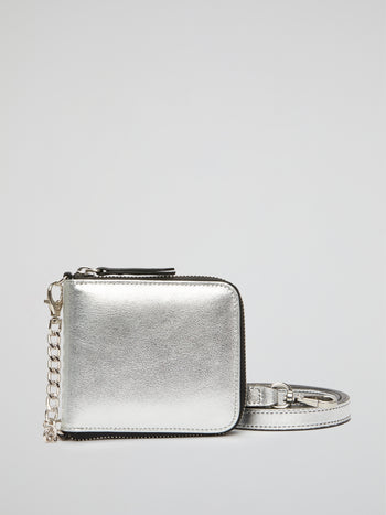 Metallic Silver Leather Crossbody Bag