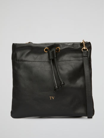 Black Leather Saccoccia Bag