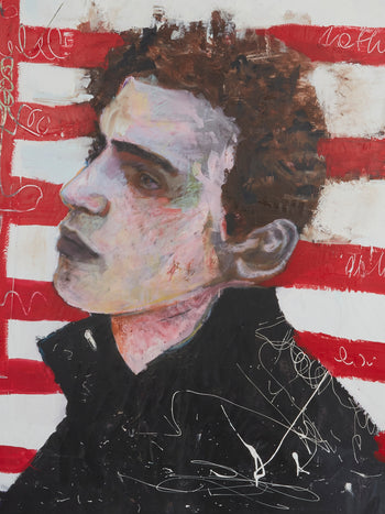 Boy On Street - Acrylic & Paper On Canvas (160 x 120 cm)