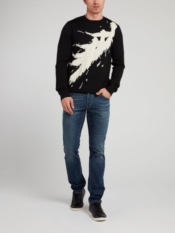Black Printed Wool Pullover