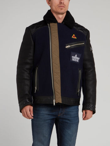 Black Appliquéd Mouton Jacket