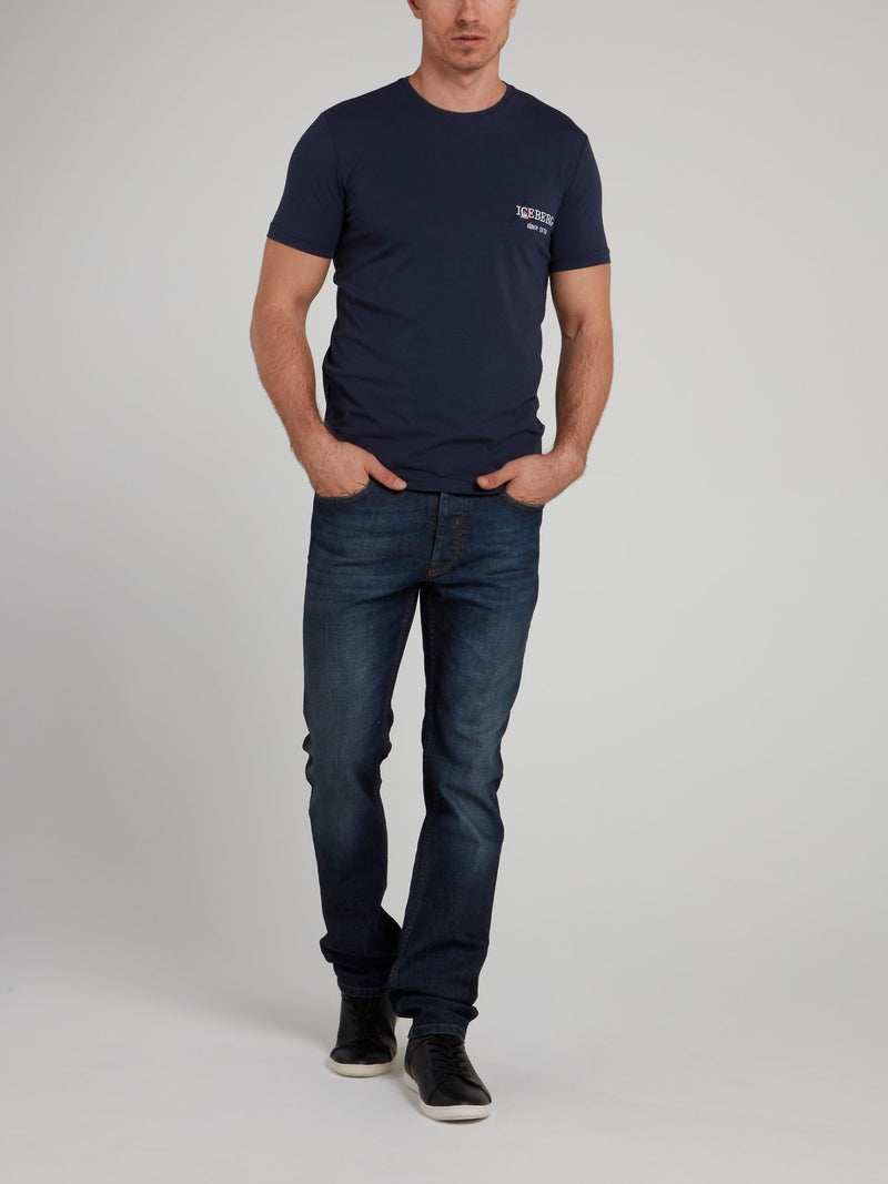 Navy Logo Embroidered T-Shirt