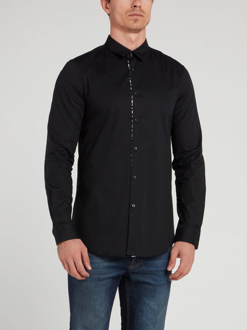 Black Logo Stripe Button Up Shirt
