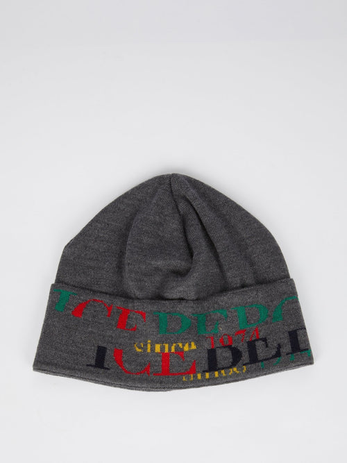 Grey with Rainbow Logo Knitted Cap
