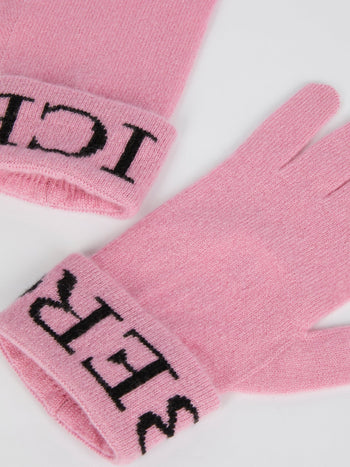 Pink Logo Knitted Gloves