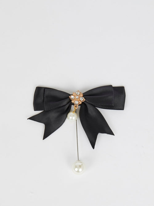 Victorian Black Ribbon Pearl Brooch