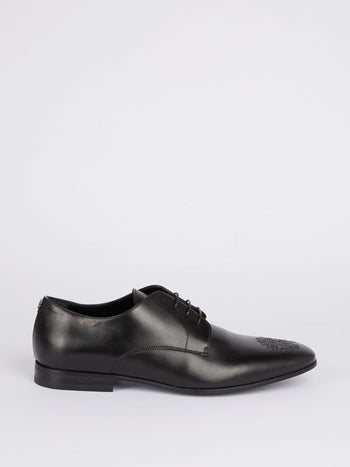 Black Studded Logo Oxford Shoes
