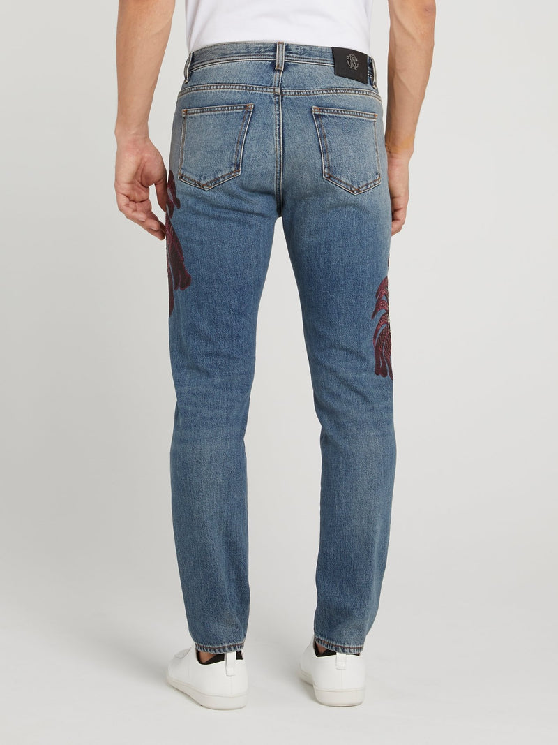 Blue Tropical Stitch Jeans