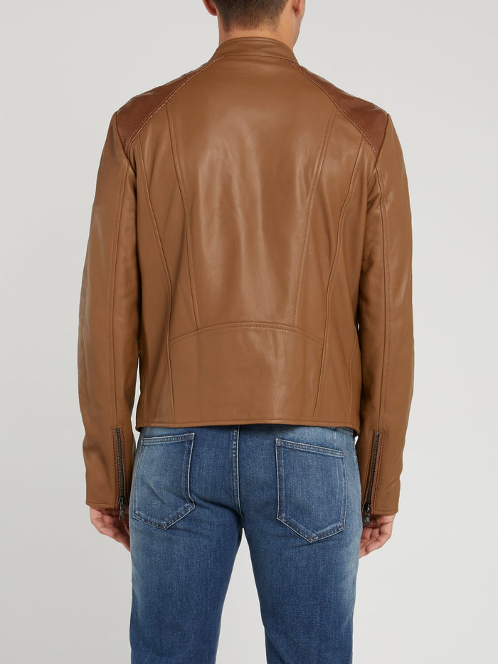 Khaki Leather Moto Jacket