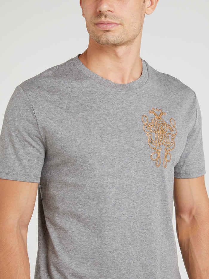 Grey Logo Embroidered T-Shirt
