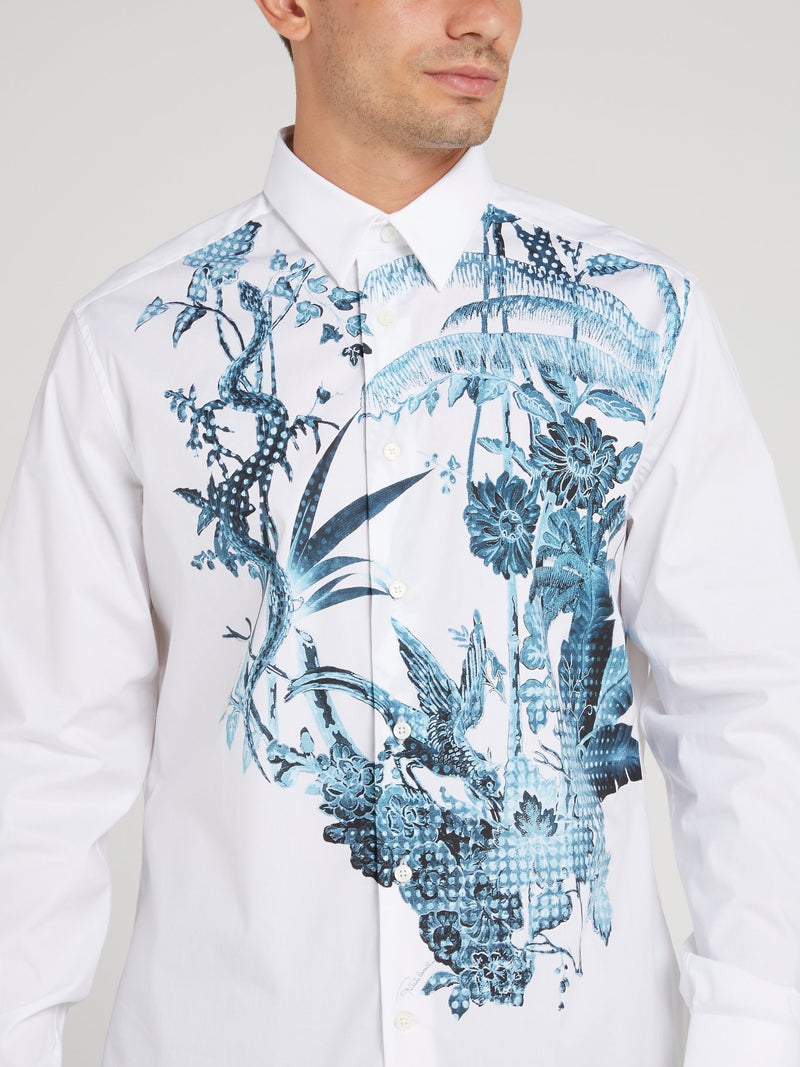 Flora and Fauna Printed Long Sleeve Shirt