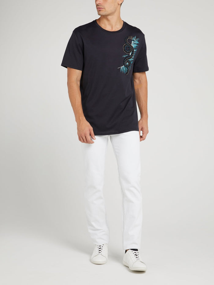 Navy Snake Beaded T-Shirt
