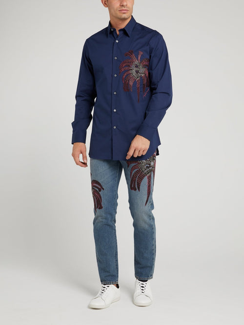 Navy Embroidered Long Sleeve Shirt