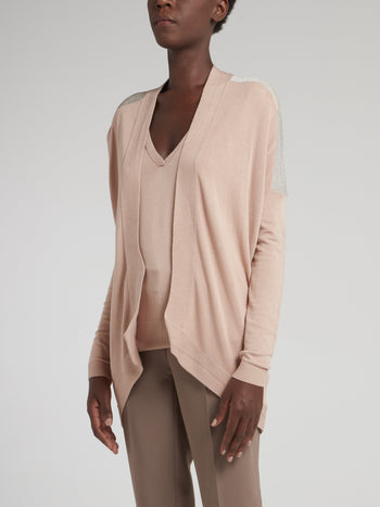Beige Knitted Silver Panel Top