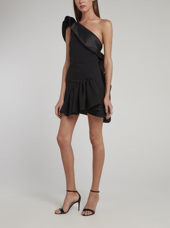 Black One-Shoulder Enfanta Ruffle Mini Dress