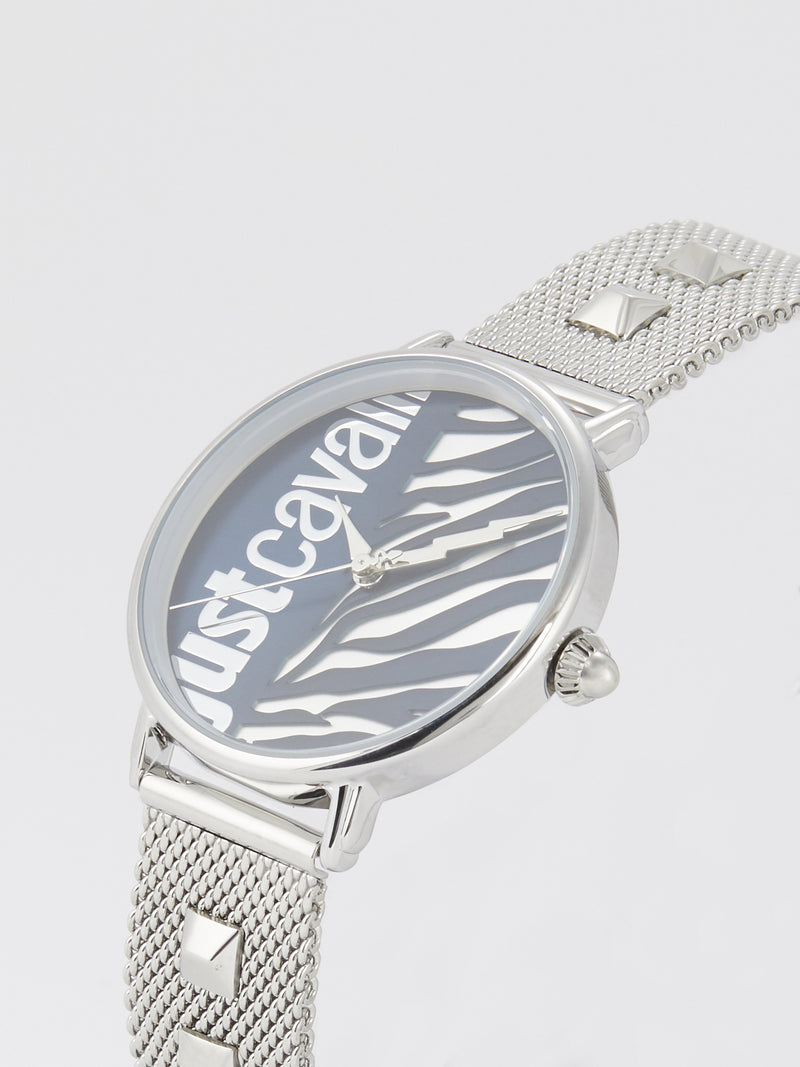 Blue Zebra Effect Steel Watch