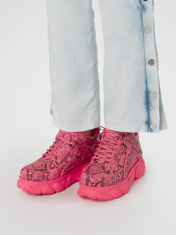 CLD Corin Pink Snake Print Sneakers