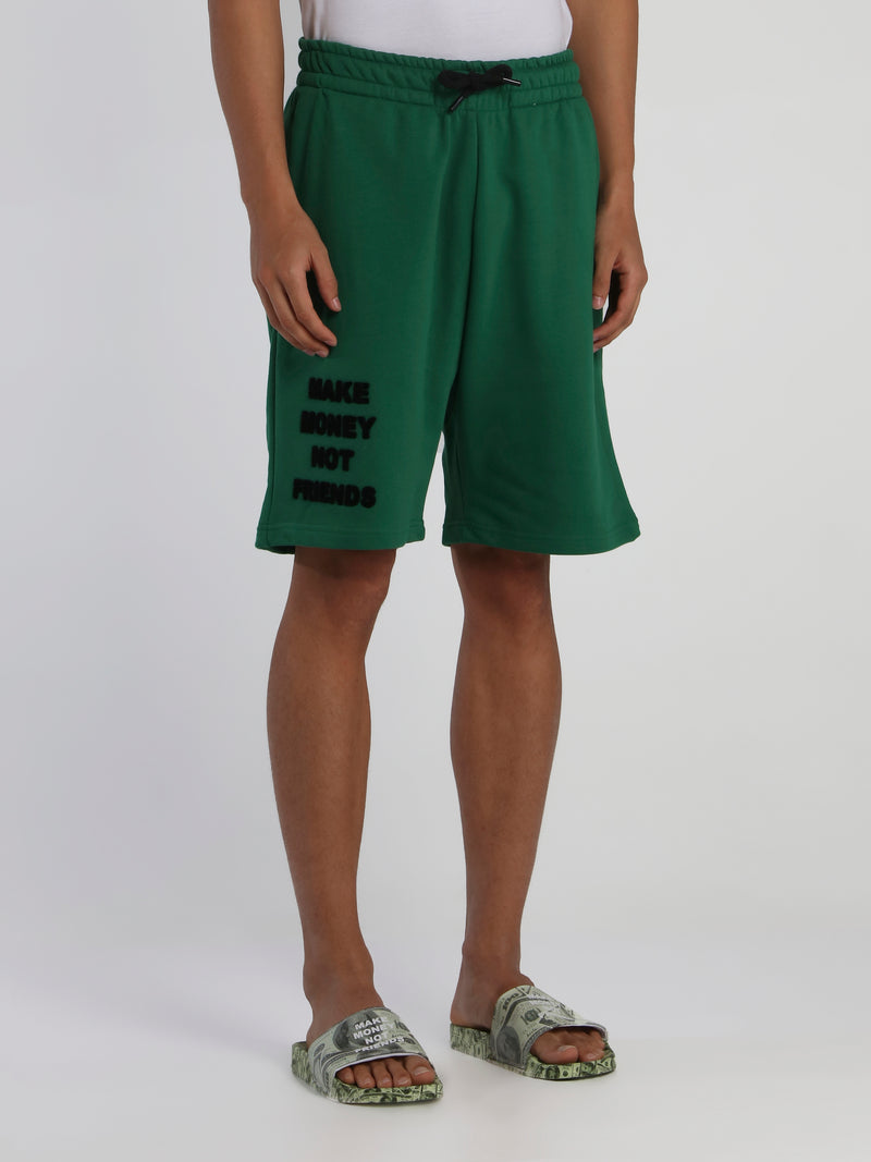 Green Drawstring Logo Shorts