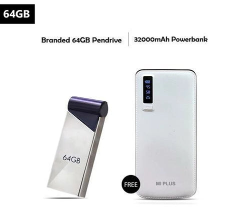 64 GB Pendrive With Free Mi Plus 32000mAh Power Bank