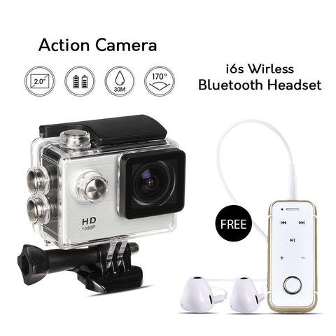 Buy Online Full HD Wifi Action Sports Camera & Get  i6 Wireless Bluetooth Headset Free