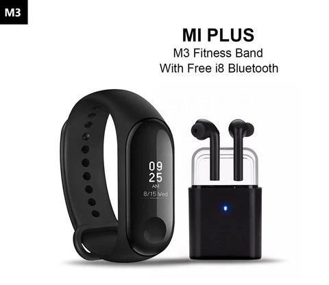 Mi Plus M3 Fitness Smart Band With Free I8 Bluetooth Earbud Headset